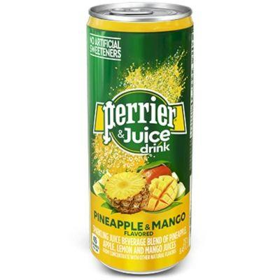 Напиток безалкогольный Perrier газированный с соком ананаса, манго банка