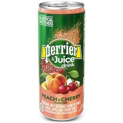 Напиток безалкогольный Perrier газированный с соком персика, вишни банка