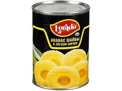 Ананасы консервированные 'Lorado' шайбы в легком сиропе
