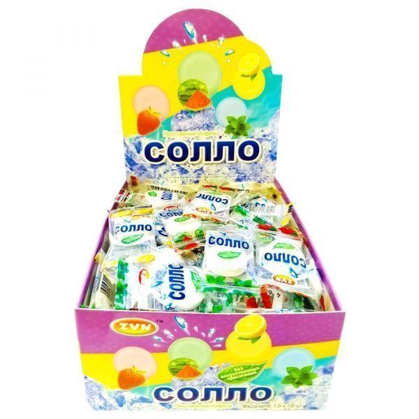 Конфеты прессованные ZVN Солло арбуз, мята, лимон, клубника