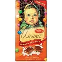 Шоколад Красный Октябрь Аленка с разноцветным драже
