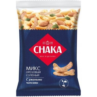 Коктейль ореховый соленый 'Снака' смесь обжаренных орехов и семян с добавлением чипсов