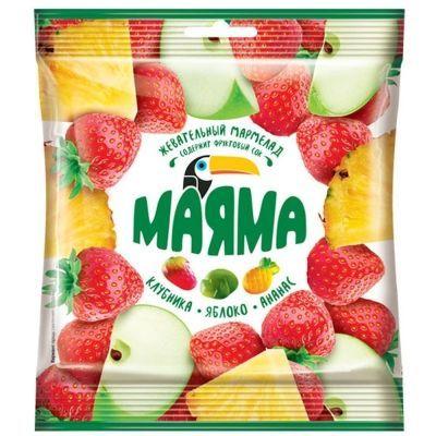 Жевательный мармелад Маяма со вкусом ананаса, яблока, клубники