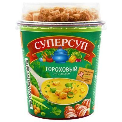 Суп Русский продукт Суперсуп Гороховый с беконом и гренки' стакан
