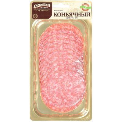 Сервелат Коньячный Егорьевский сырокопченый нарезка