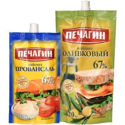 Майонез Печагин Оливковый 67% 420мл+Провансаль 67% 220мл