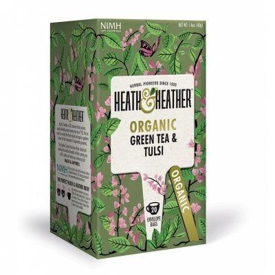 Чай Heath&Heather 'Organic Green Tea & Tulsi' зеленый с базиликом 20 пакетиков