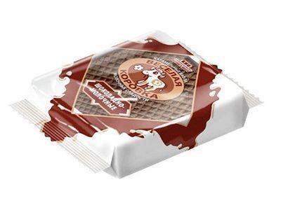 Карамельные вафли 'Весёлая коровка' шоколадно-молочные
