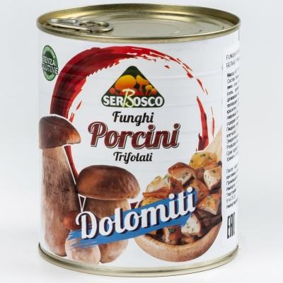 Грибы белые резаные жареные Доломити Serbosco