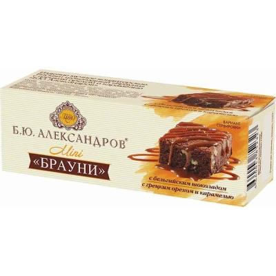 Бисквит шоколадный Б.Ю. Александров Брауни с грецким орехом и карамелью