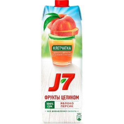 Сок J7 Яблоко, Персик с мякотью