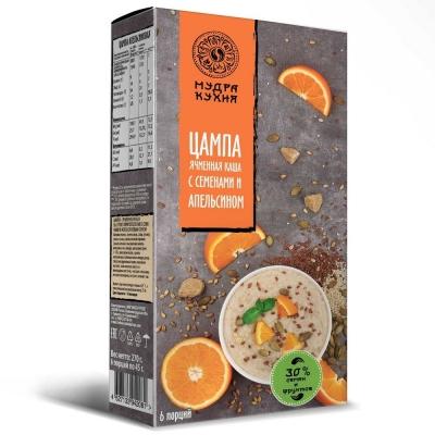 Цампа 'Мудра кухня' ячменная каша с семенами и апельсином (6пак.х45г)