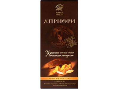 Горький шоколад 'АПРИОРИ' с цукатами апельсина и лепестками миндаля