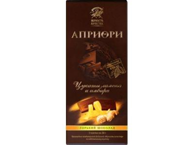 Горький шоколад 'АПРИОРИ' с цукатами лимона и имбиря