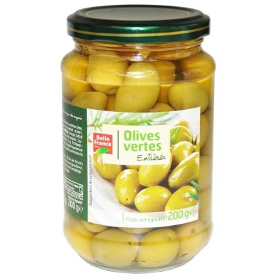 Оливки зеленые Belle France с косточкой стекло