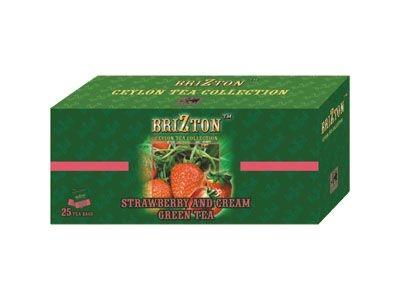 Зеленый чай 'Brizton' с земляникой со сливками (25 пакетов по 2г)