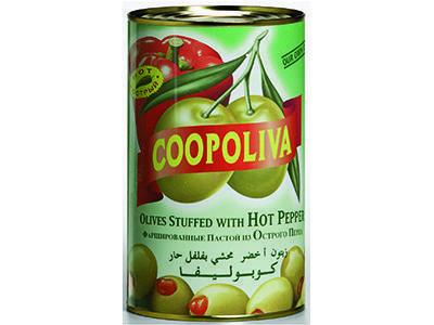 Оливки 'Coopoliva' с красным перцем