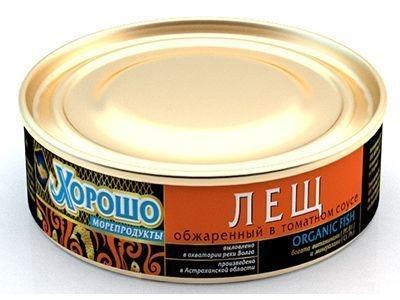 Консервы 'Хорошо морепродукты' Лещ обжаренный в томатном соусе