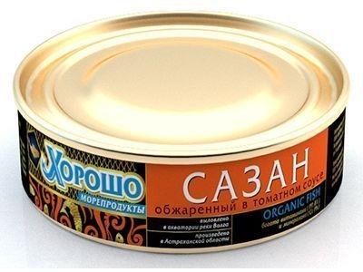 Консервы 'Хорошо морепродукты' Сазан обжаренный в томатном соусе