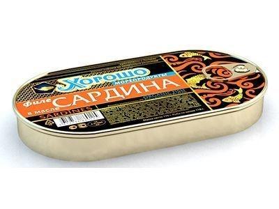 Консервы 'Хорошо морепродукты' Филе сардины в масле (ключ)