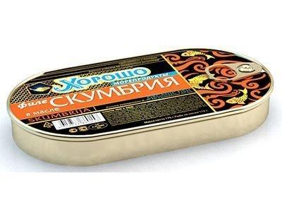 Консервы 'Хорошо морепродукты' Филе скумбрии в масле (ключ)