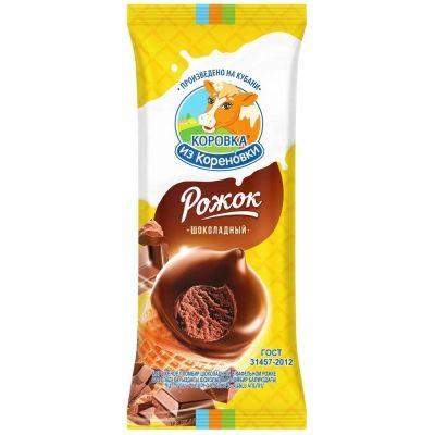 Мороженое 'Коровка из Кореновки' шоколадный рожок