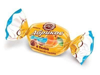 Конфеты Микаелло Абрикос с лесным орехом в белой шоколадной глазури
