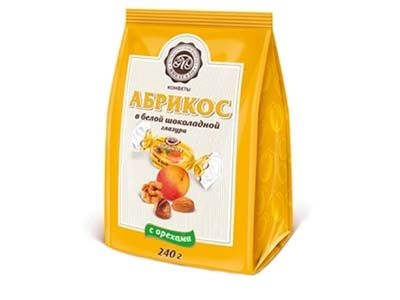Конфеты Микаелло Абрикос в белой шоколадной глазури с орехами
