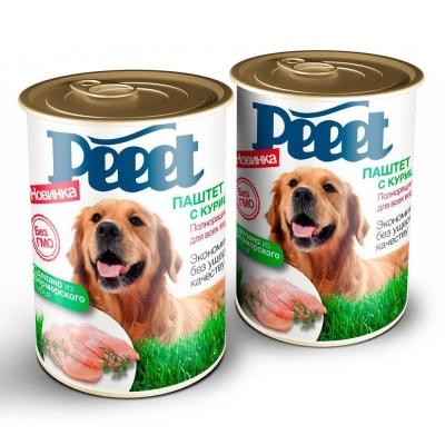 Корм консервированный для собак 'Peeet' паштет с курицей