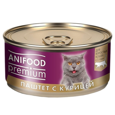 Корм консервированный для кошек 'ANIFOOD premium' паштет с курицей