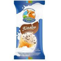 Мороженое Коровка из Кореновки пломбир ванильный с шоколадной крошкой в вафельном стаканчике