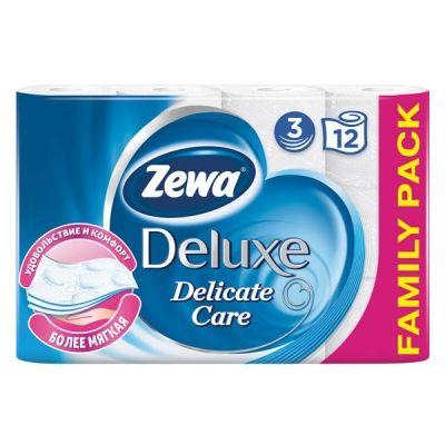 Туалетная бумага ЗЕВА 3-слойная Делюкс Белая 12 шт.