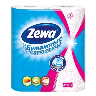 Бумажные  полотенца ЗЕВА 2-х сл. Декор уп. 2шт