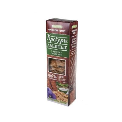 Крекеры льняные натуральные 'Флэкси чипс' вкус лук и сметана