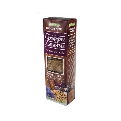Крекеры льняные натуральные 'Флэкси чипс' вкус базилик и тмин