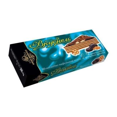 Торт шоколадно-вафельный 'Вкуснель' с Черносливом и грецким орехом