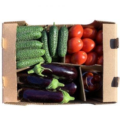 Овощи свежие Долина овощей Микс 6 (баклажан, томат сливовидный красный, огурец короткоплодный, черри)