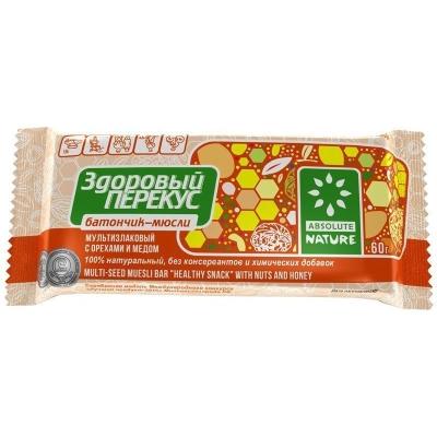 Батончик мультизлаковый 'Здоровый Перекус' с орехами и медом