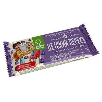 Батончик мюсли витаминизированный для питания с 3х лет 'Детский Перекус' с черникой и белым шоколадом