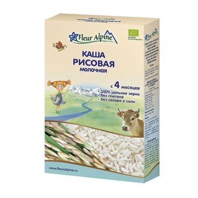 Каша молочная 'Fleur Alpine' ORGANIC рисовая с 4 месяцев