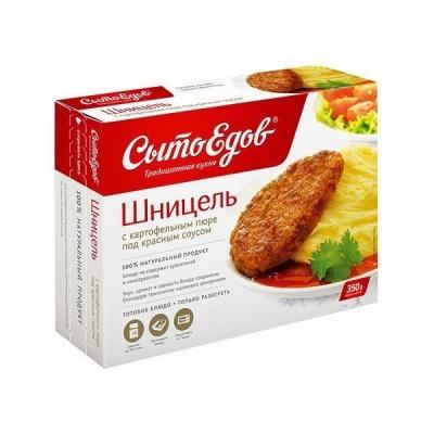 Шницель с картофельным пюре под красным соусом
