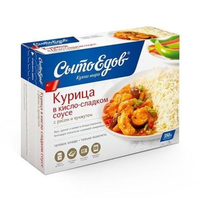 Курица в кисло - сладком соусе с рисом и кунжутом 'Сытоедов' замороженная (только разогреть)