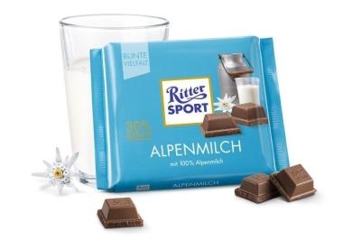 Шоколад молочный Риттер Спорт с альпийским молоком