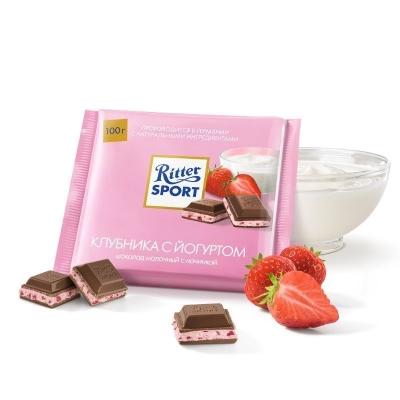 Шоколад молочный Риттер Спорт с клубникой в йогурте