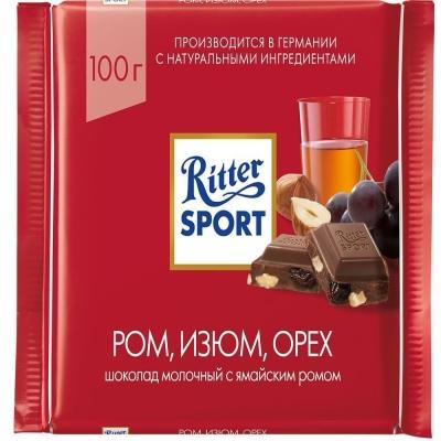 Шоколад молочный Риттер Спорт с ямайским ромом, изюмом и орехом лещины