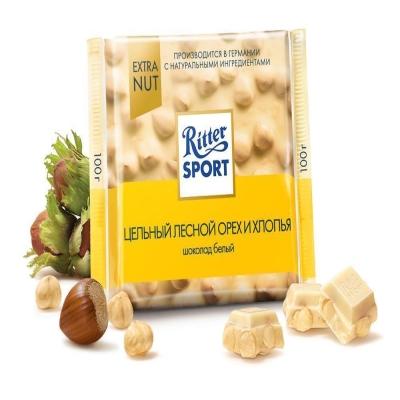 Шоколад белый Риттер Спорт цельный лесной орех рисовые хлопья