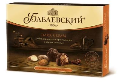 Конфеты Dark сream Бабаевский дробленый миндаль и ореховый крем темный шоколад