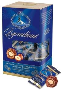 Конфеты Бабаевские Вдохновение шоколадно-ореховым кремом и цельным фундуком