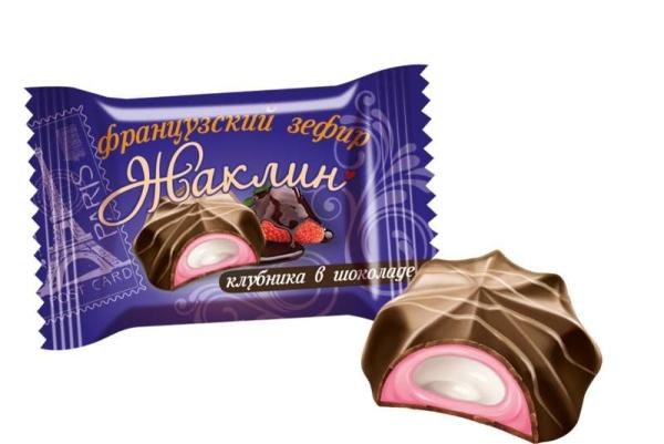 Конфеты Славянка Жаклин французский зефир вкус клубники в шоколаде