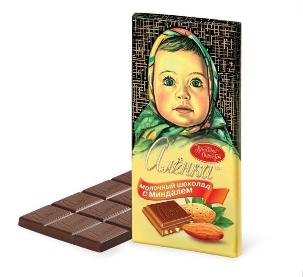 Шоколад Красный Октябрь Алёнка с миндалём